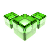 Green glass cubes isolated Stock Images