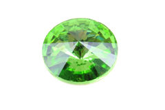 Green glass diamond isolated Royalty Free Stock Photo