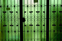 Green glass doors, Stock Photo