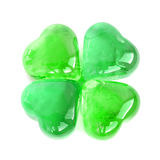 Green glass four leaf clover shape Stock Photography
