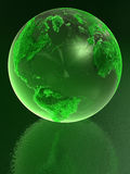 Green Glass globe. With reflection Vector Illustration