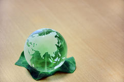 Green glass globe. (Eurasian Continent) Stock Photo