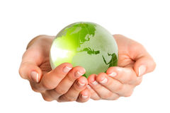 Green glass globe Stock Photography