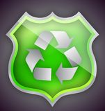 Green Glass recycle shield illustration design Royalty Free Stock Image