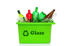 Green glass recycling bin isolated on white Royalty Free Stock Photography