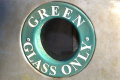Green glass recycling concept Royalty Free Stock Photo