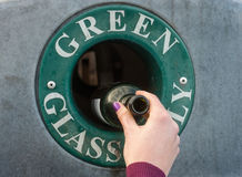 Green glass recycling Royalty Free Stock Images