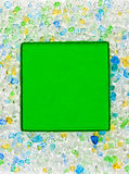 Green glass square frame. Abstract macro green glass square frame Royalty Free Stock Photos