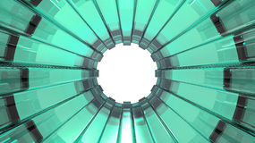 Green Glass Tunnel. Green glass abstract round tunnel Stock Photo