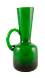 Green glass vase with handle isolated on white Royalty Free Stock Photography