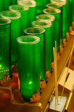 Green Glass Votive Candles Stock Image