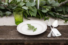Green glass, white plate. With green leave, silver spoon and fork with blank label and green leaves and eucalyptus on background outdoors Royalty Free Stock Photography