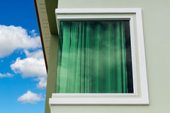 Green Glass Window Corner. Royalty Free Stock Image
