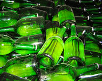 Green Glass Wine and Beer Bottles Stock Photo