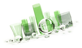 Green glasses with glass balls Royalty Free Stock Images