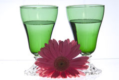 2 green glasses with pink flower stock photo