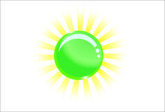 Green glassy ball with light behind Royalty Free Stock Images