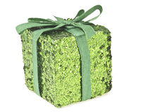 Green glitter box Stock Photo