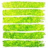 Green glitter brush strokes set  at white Royalty Free Stock Photos