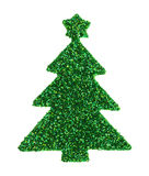 Green glitter Christmas tree sticker on a white background Royalty Free Stock Photography