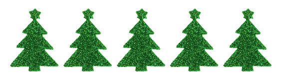 Green glitter Christmas tree stickers on a white background Stock Photography