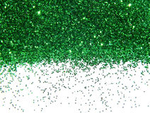 Green glitter sparkle on white background Stock Images