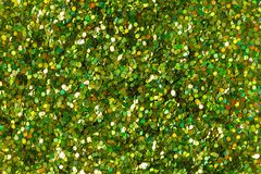 Green glitter texture on macro. royalty free stock photo