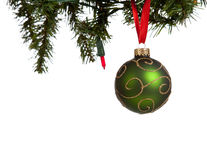 A green glittery Christmas ball on white Stock Photos