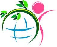 Green glob logo. Isolated line art green glob logo design Stock Photos
