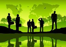 Green Global Business. Business team concept with business people and a world map Stock Image