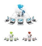 Green Global Computer Network Stock Photos
