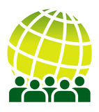 Green global meeting sign Royalty Free Stock Image