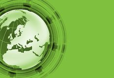 Green Global News. Background with Green Globe and Solid Green Background. Right Side Copy Space. Globe - European/African/Asia Part Royalty Free Stock Image