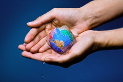 Green - Global warming. Conceptual image of global warming and green environmentalism. Human hand holding earth globe frozen into thawing ice cube Stock Photography