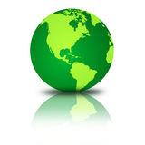 Green Globe. Isolated on white, with shadow and reflection Royalty Free Stock Image