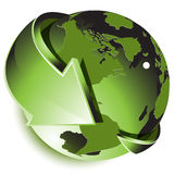 Green globe. Illustration, abstract blue globe with green arrow Royalty Free Stock Photos