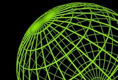 Green globe. Green wireframe globe Stock Photos