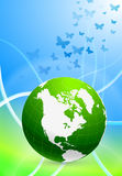 Green Globe on Abstract Background Stock Photo