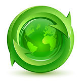 Green Globe and Arrows Stock Photo