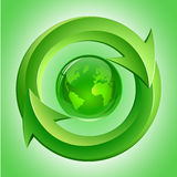 Green Globe and Arrows Royalty Free Stock Images