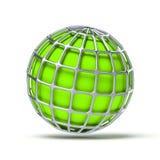 Green globe ball. 3d illustration of a green globe ball Royalty Free Stock Image