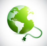 Green globe and cable connection. illustration Stock Images