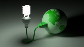 Green globe connected to an energy saving bulb stock illustration