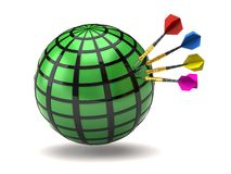 Green globe and darts Royalty Free Stock Photo