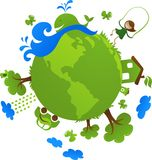 Green globe eco concept. With cute eco icons Royalty Free Stock Photo
