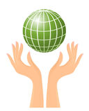 Green globe and hands Stock Photo