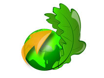 Green globe icon. A green globe with leafs and an arrow Royalty Free Stock Photos