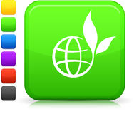 Green globe icon on square internet button Stock Image