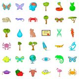 Green globe icons set, cartoon style Stock Images