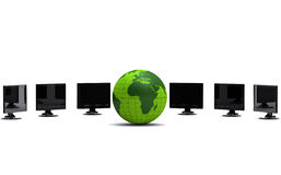 Green globe and lcd monitors Royalty Free Stock Image